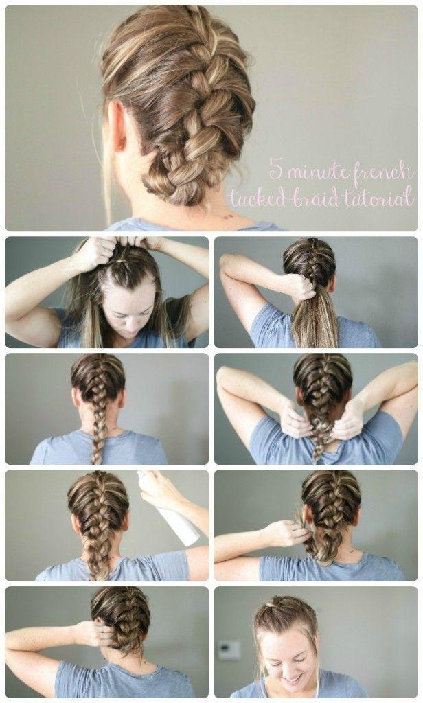 Five Minute Hair Tutorial Braid Tutorial Hair Tutorial Easy Braid Tutorial Easy Braids Five Minute B Easy Hairstyles Hair Styles Braids Tutorial Easy