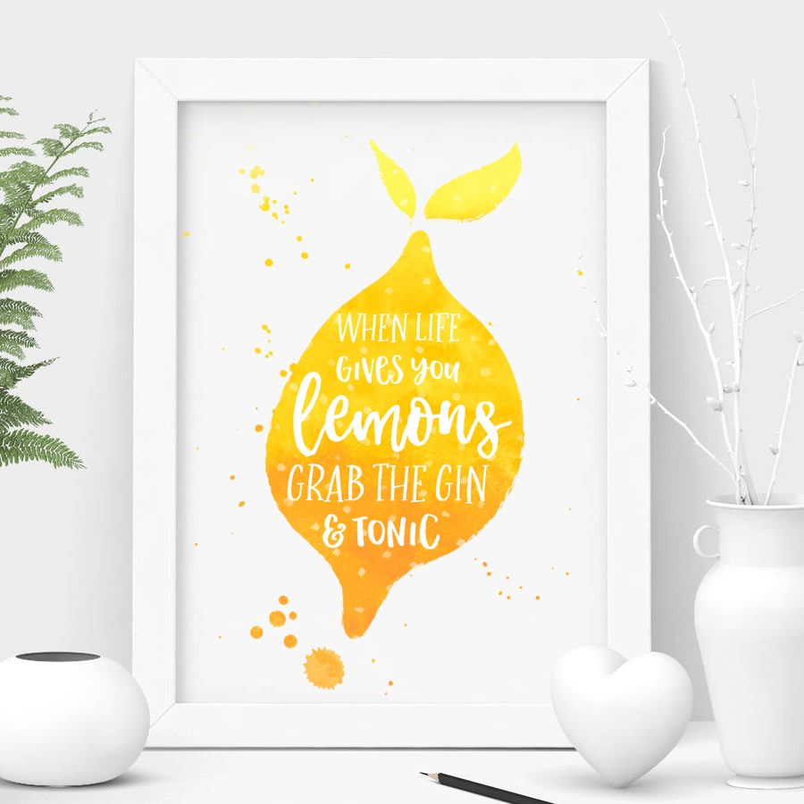 Funny Gin Quote A5 Typographic Print Wall Art Home
