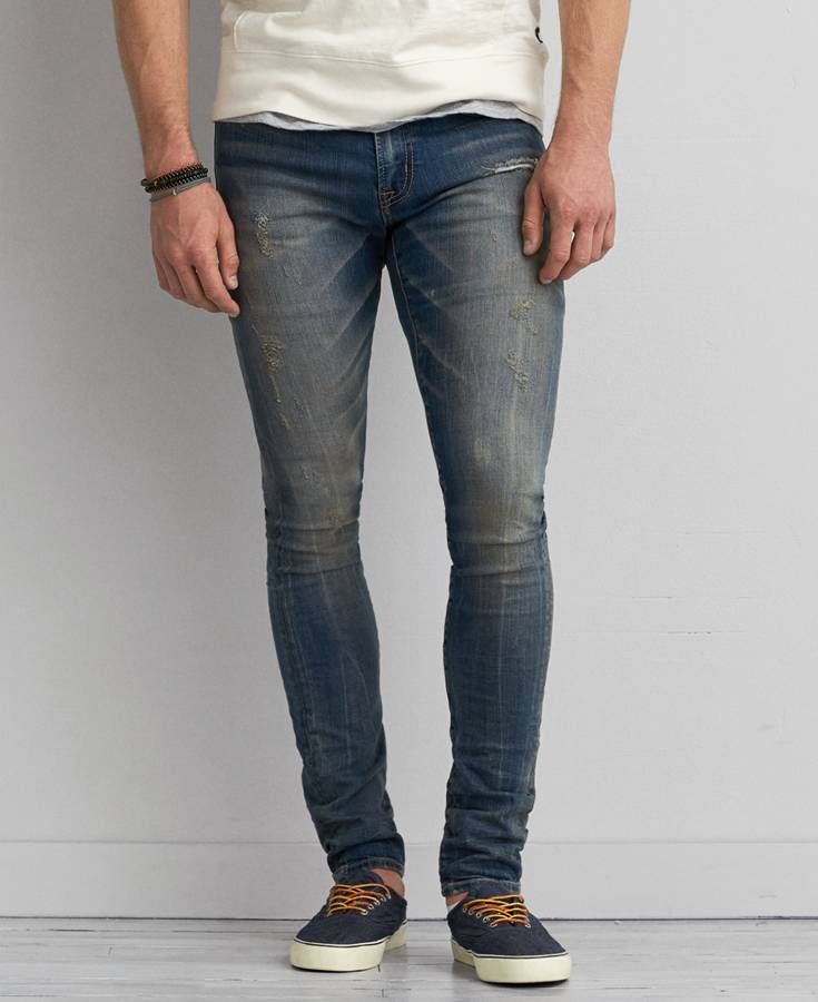 OK, so this is a men's jean BUT it fits AMAZING! No gap at all in the waist  and the waist is a little higher than women's jeans right now. TRUST ME! - Super Skinny Active Flex Jeans, Men's, Medium Vintage *Clothing