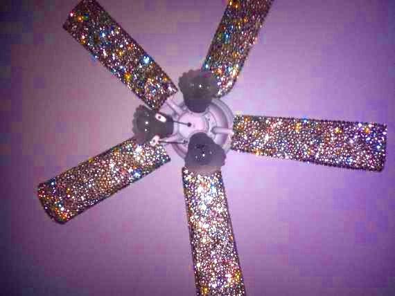 Diy Bejeweled Fan Glue Rhinestone On To Bottom Of Fan Panel S As