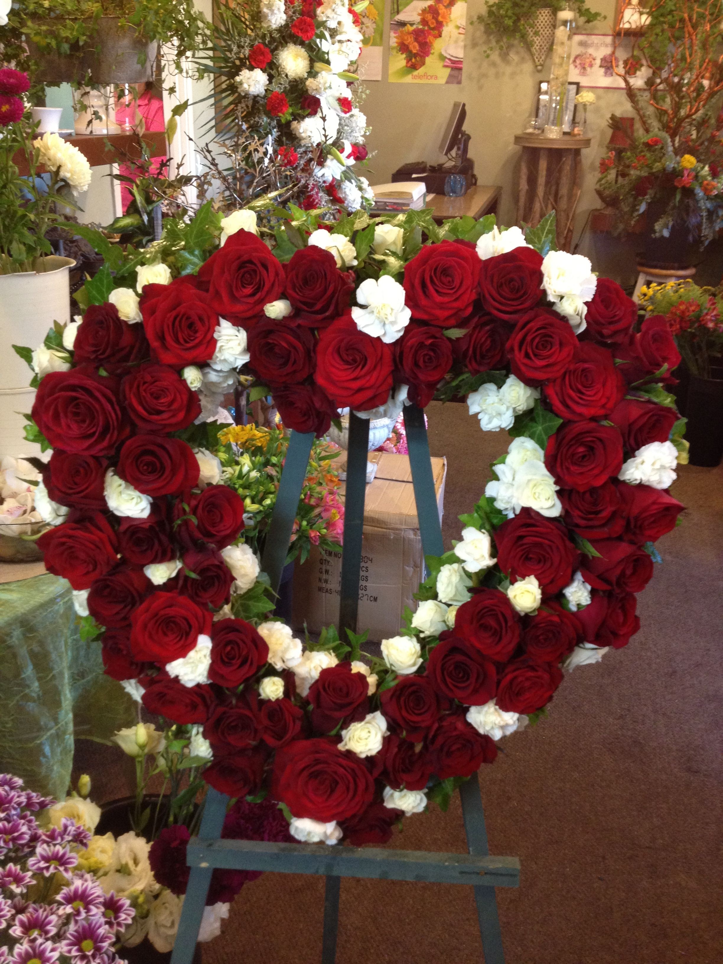 Funeral Flowers in the shape of heart. Funeral flowers