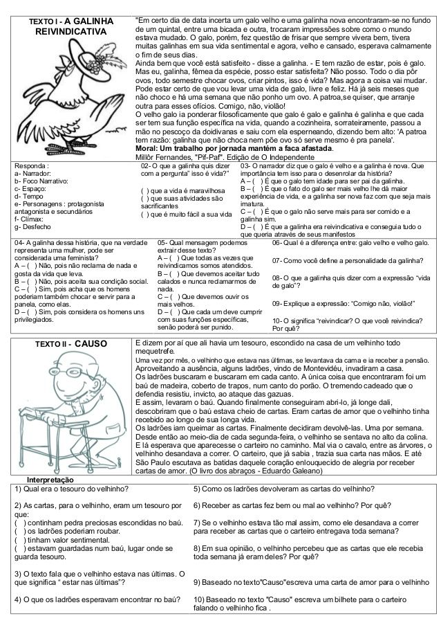 Atividades De Lingua Portuguesa Interpretacao De Textos Com