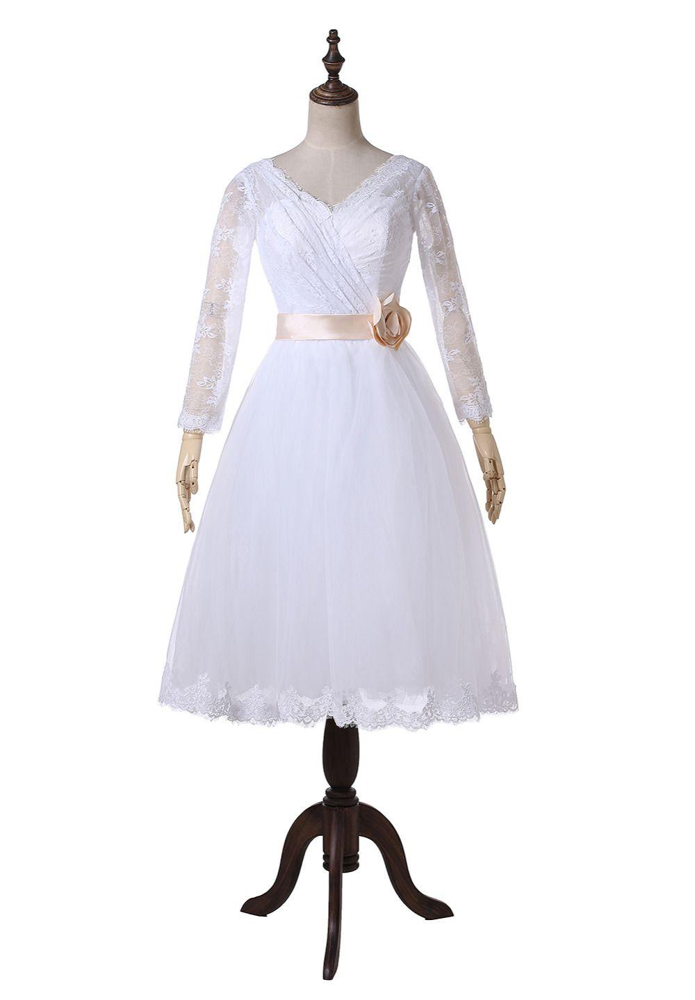 Real image flower sash long sleeve short vintage lace wedding