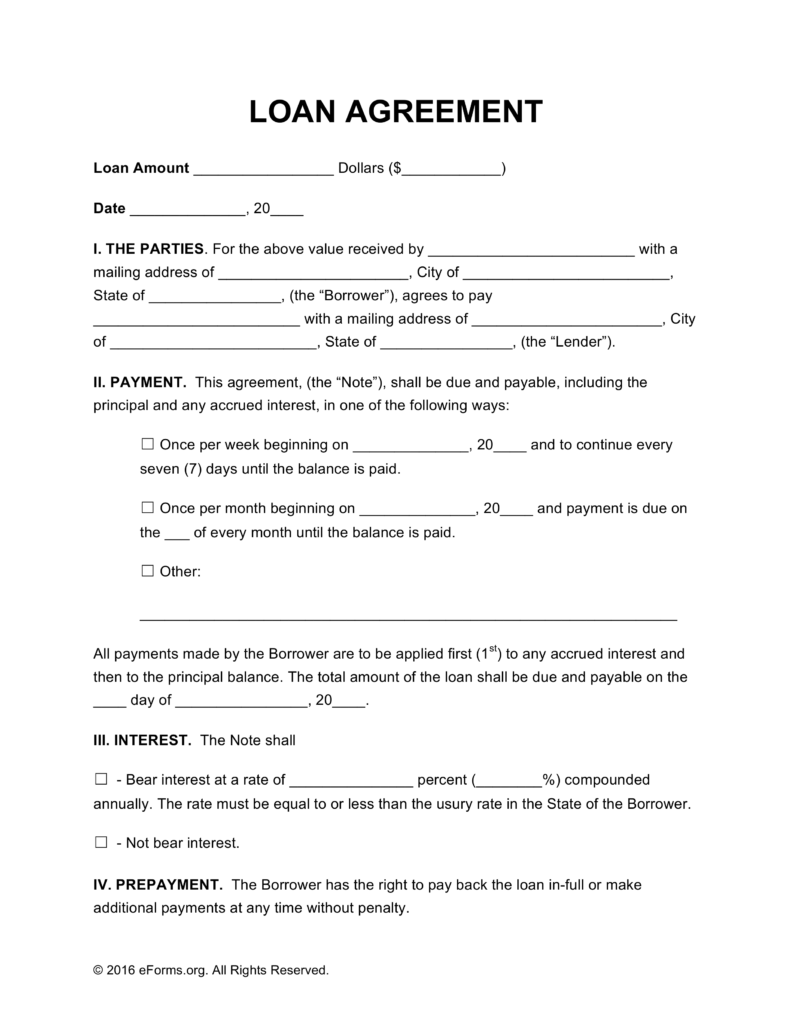Free Loan Agreement Templates Pdf Word Eforms Fillable Forms