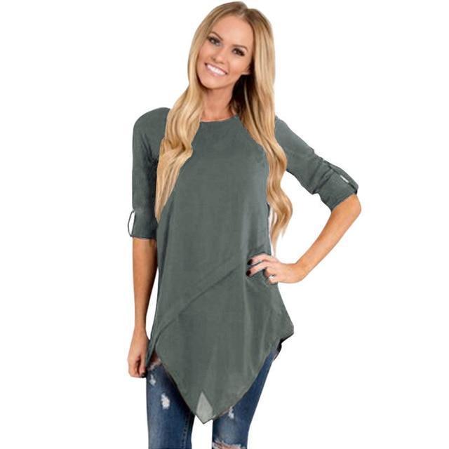 e76e089e998 Women Long Sleeve Tops 3XL 4XL 5XL Plus Size Blouse Shirts  Irregularrricdress