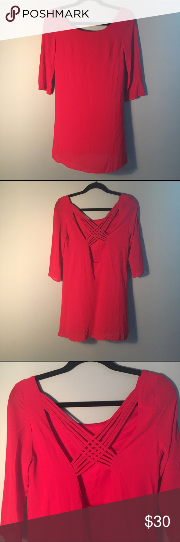 Red threequarter sleeve dress never worn threequarter sleeve red