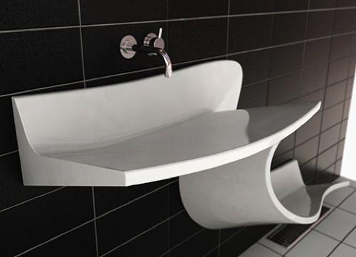 modernes waschbecken im bad wand befestigt dunkle fliesen, Badezimmer