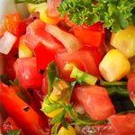 Corn, Edamame and Red Bell Pepper with Roasted Garlic-Basil Dressing