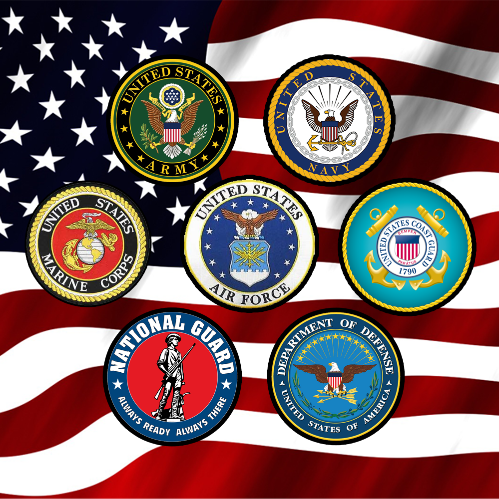 branches of the u s  military on american flag