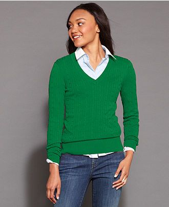5972fd7a4be Tommy Hilfiger Long-Sleeve V-Neck Cable-Knit Sweater - Sweaters ...