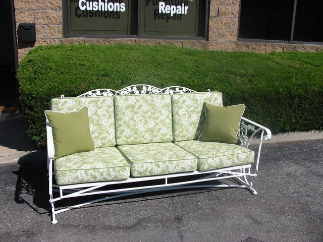 Antique Wrought Iron Sofa Glider With Custom Cushions And Coordinating Pillows In Outdoor Cushions Patio Furniture Iron Patio Furniture Vintage Patio Furniture