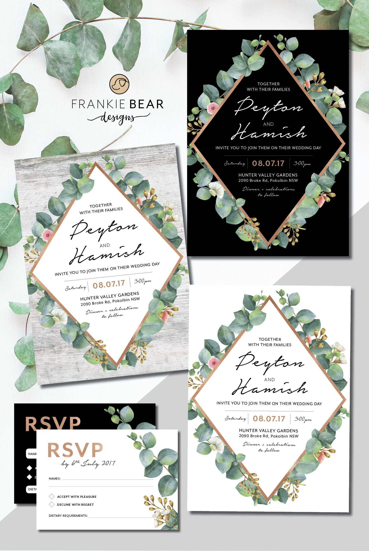 This gorgeous, natural geometric wedding suite features touches of ...