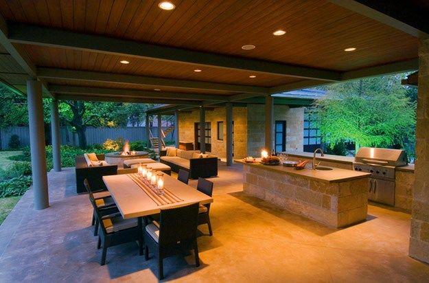 Outdoor Kitchen Concrete Night Outdoor Kitchen Bonick Landscaping Dallas Tx Outdoor Kitchen Design Outdoor Rooms Outdoor Living Areas
