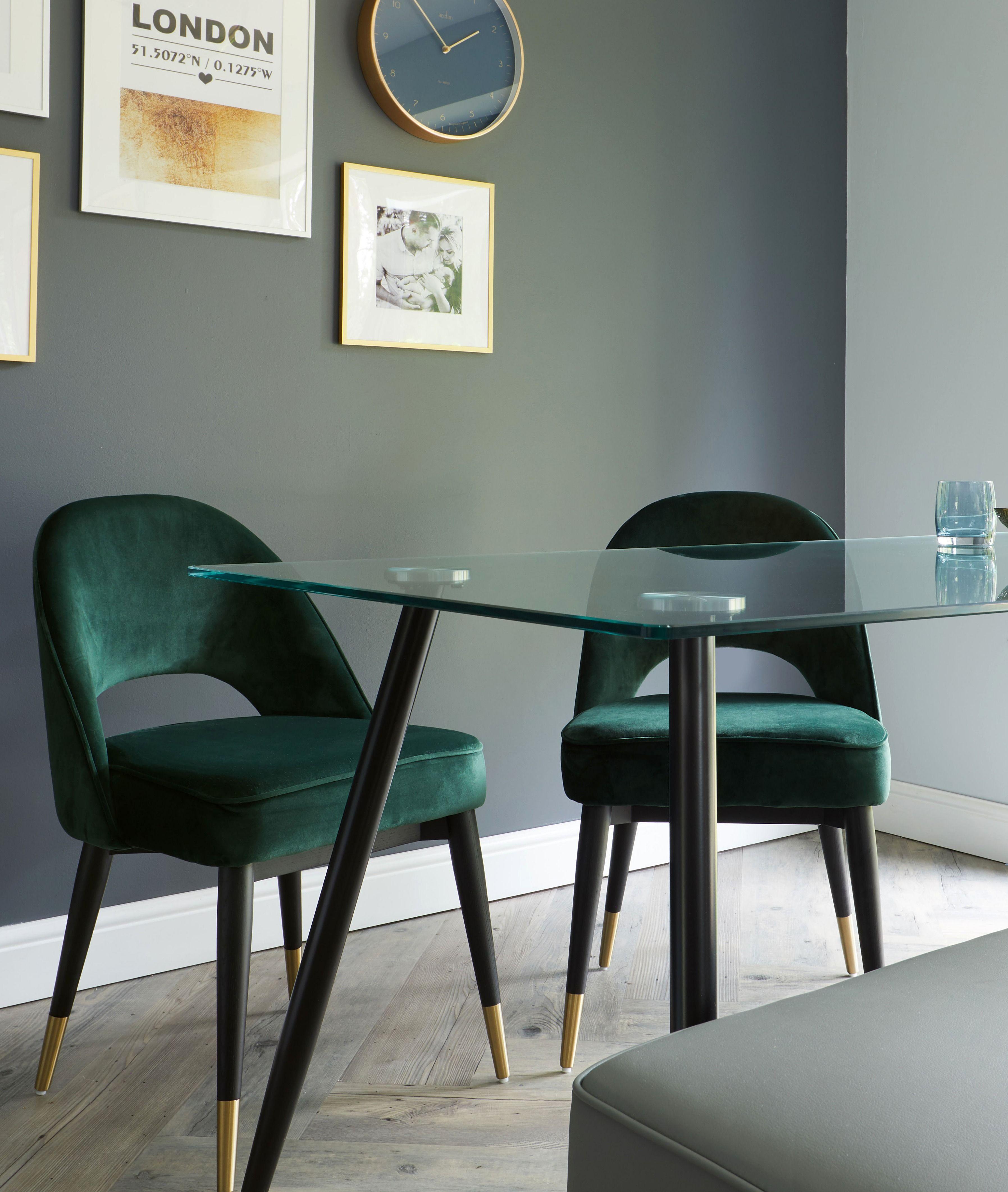 Dark Green Velvet Dining Set Green Chair Living Room Green