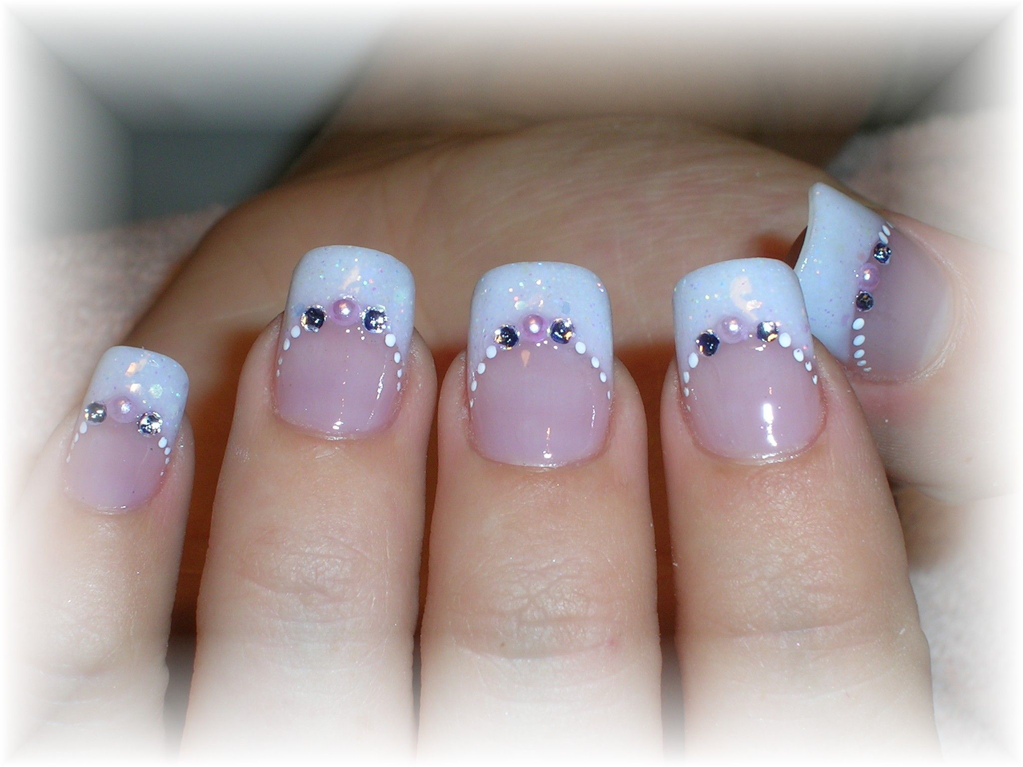 Sparkle French Nail Tips | French opal glitter acrylic tip and ...
