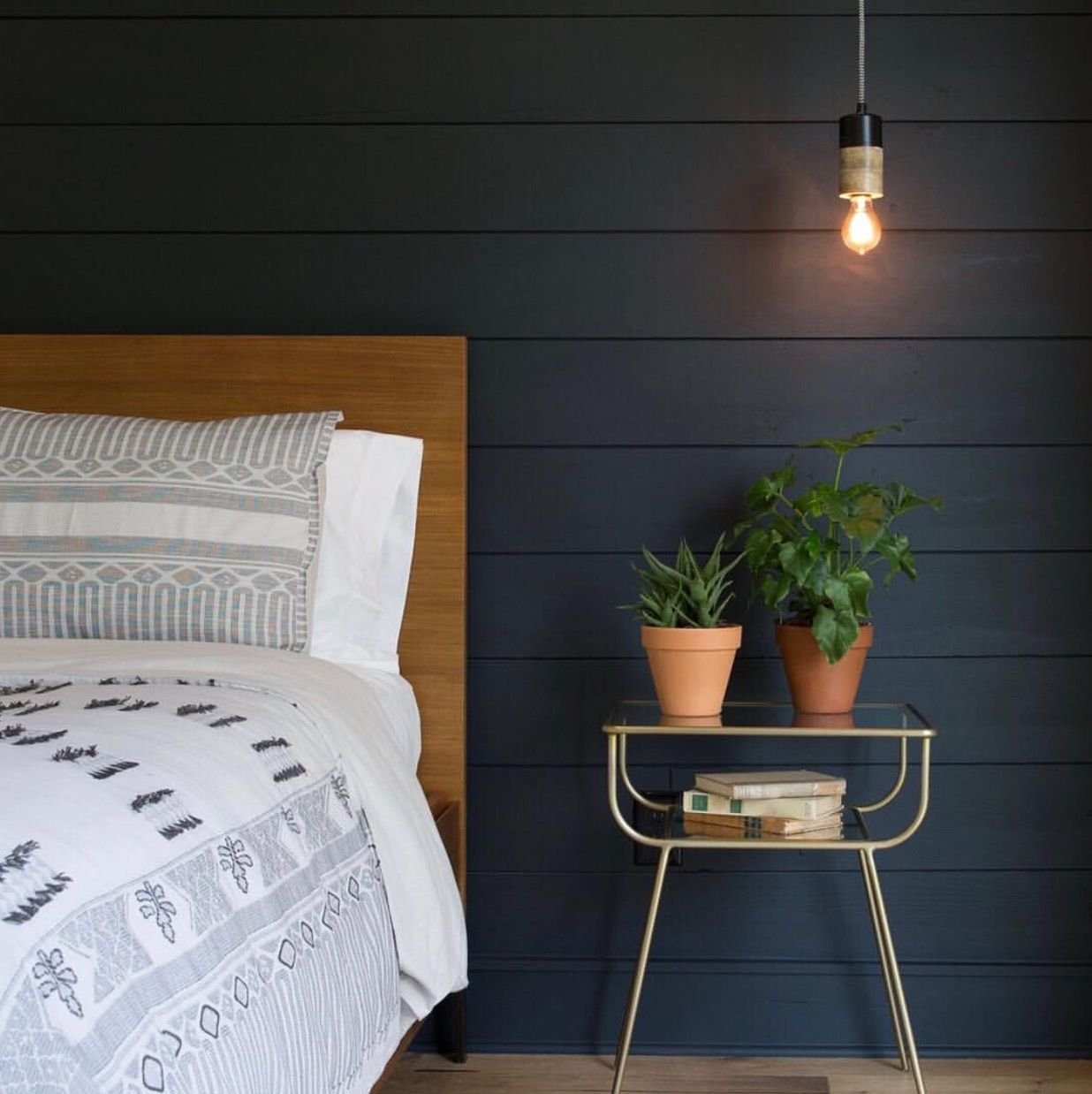 "Painted Shiplap Accent Wall: Shiplap Painted With ""Blackboard"" From The Magnolia Paint"