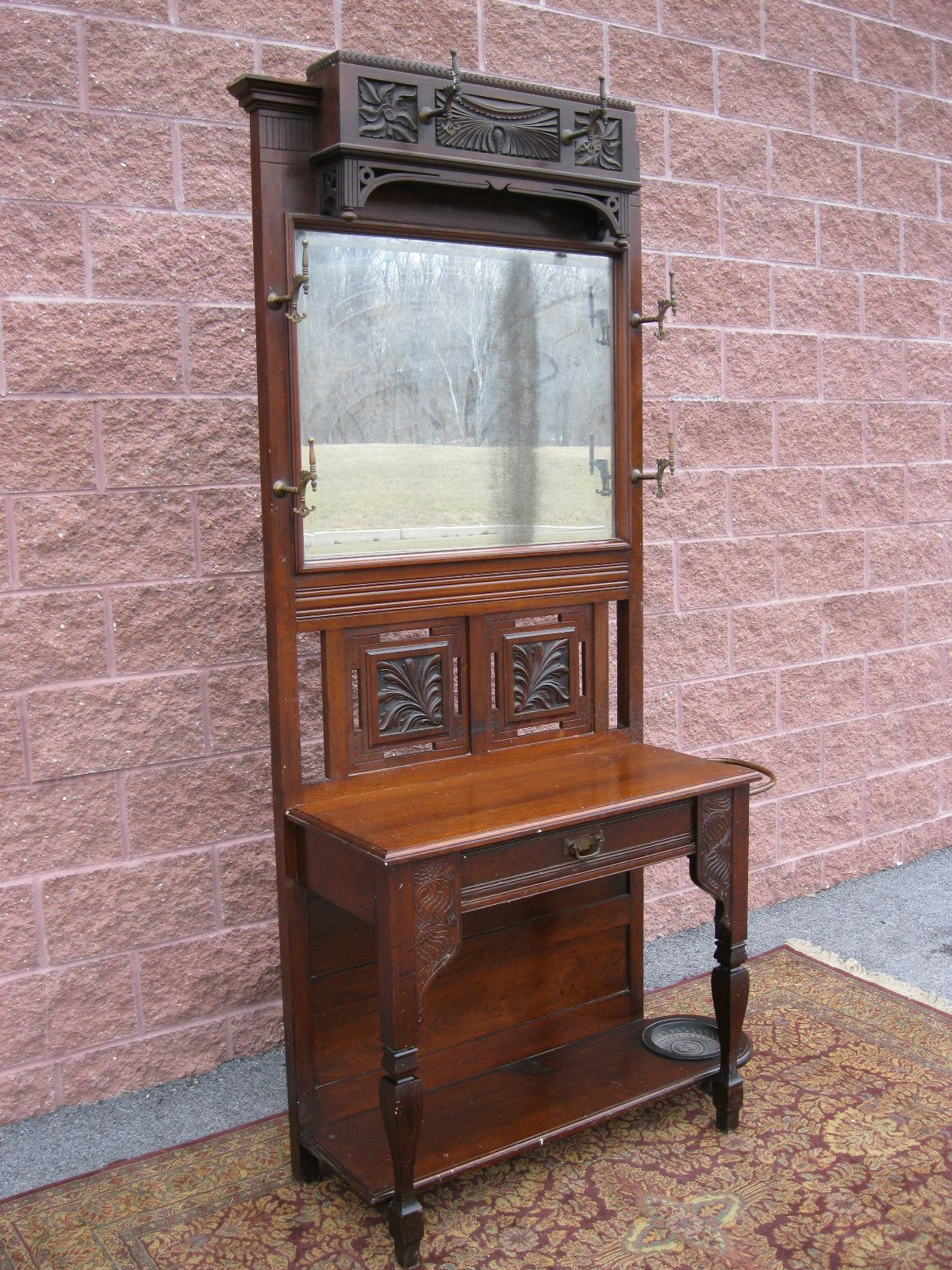 Antique Walnut Mirror Hall Stand Hat Coat rack 1 drawer ...