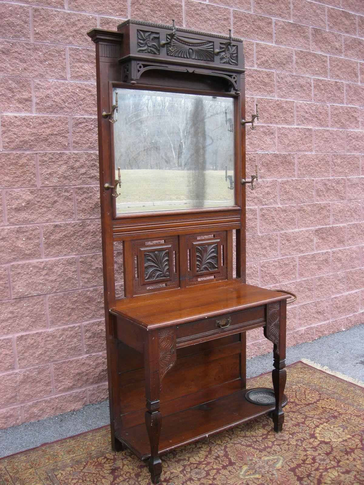 Antique Walnut Mirror Hall Stand Hat Coat Rack 1 Drawer Umbrella Holders Ca 1870