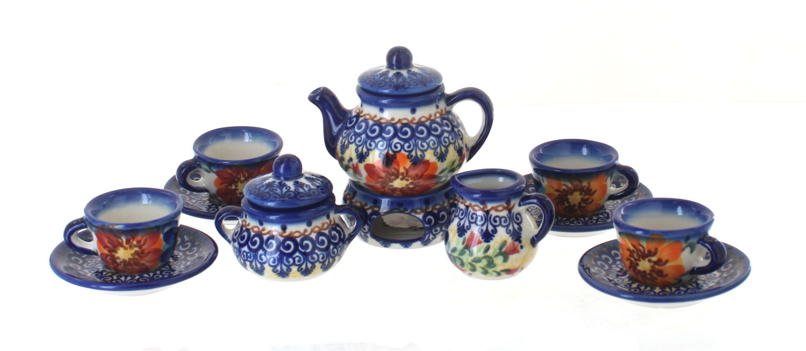 Polish Pottery Autumn Rose Cream /& Sugar Set