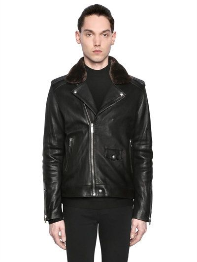 5f1ea4cadb THE KOOPLES NAPPA LEATHER BIKER JACKET W/ FAUX FUR, BLACK. #thekooples  #cloth #leather jackets
