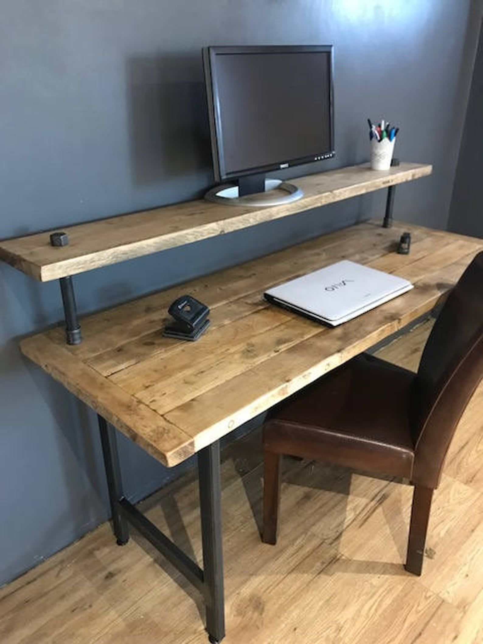 Reclaimed Wood Pc Table With Monitor Stand Etsy In 2020 Home Office Setup Home Diy Desk Plans
