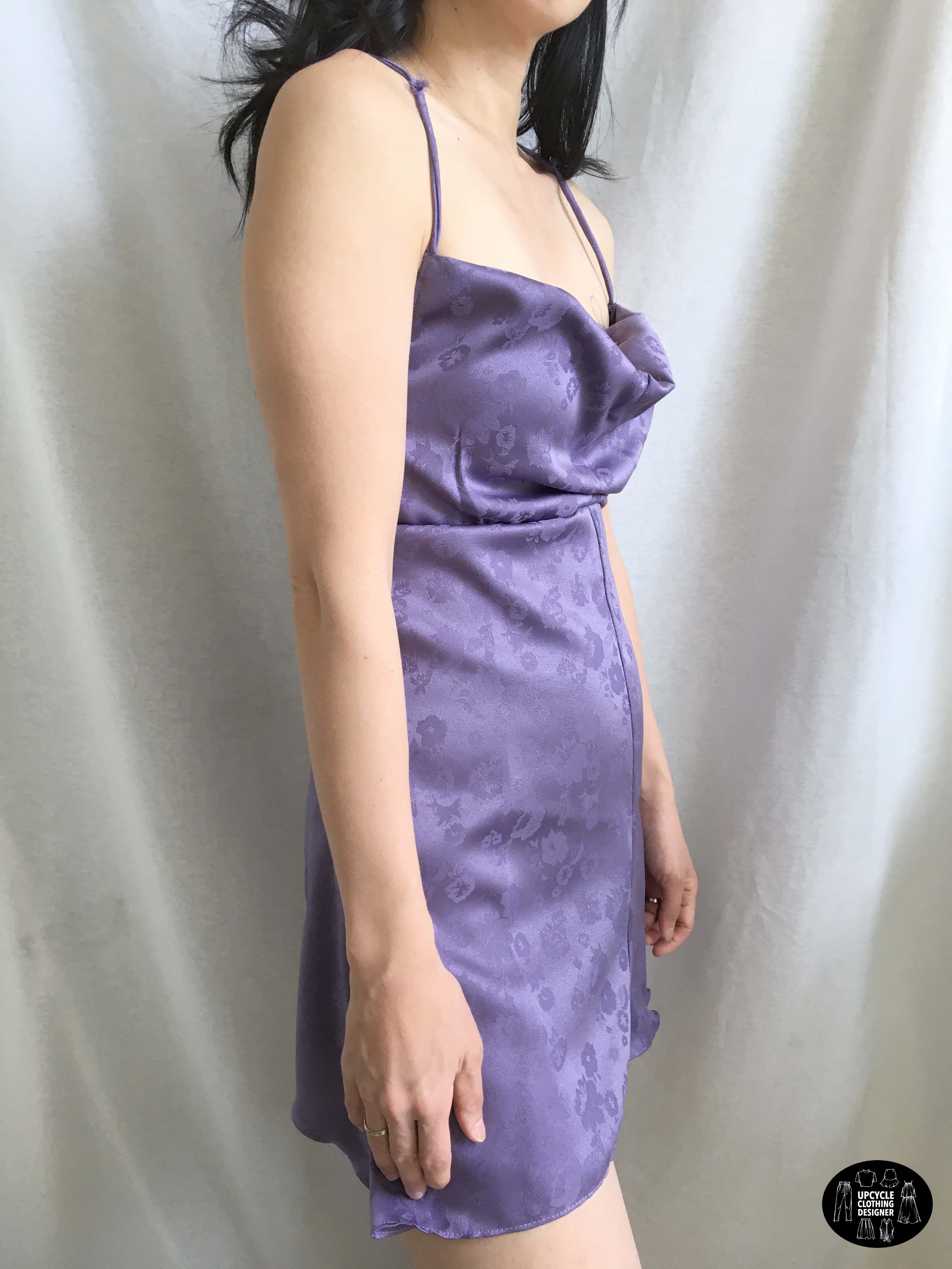 Cowl neck mini slip dress out of pants upcycle clothing
