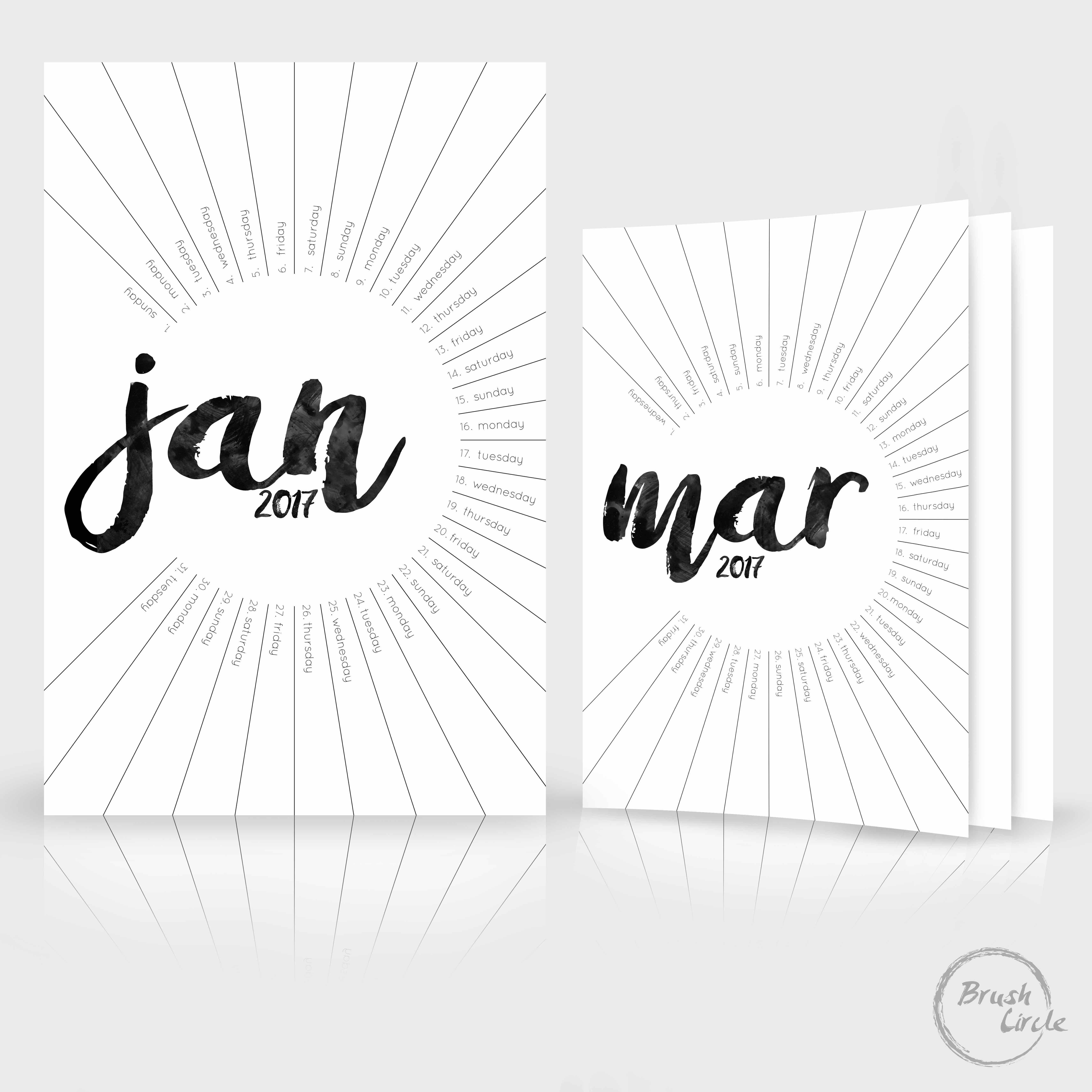 2017 + 2018 Calendar Template - Modern Black & White, Simple Wall ...