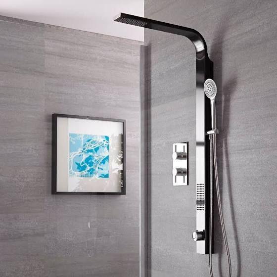 robinetterie sdb noire colonne douche baignoire bathroom pinterest douche colonne de. Black Bedroom Furniture Sets. Home Design Ideas