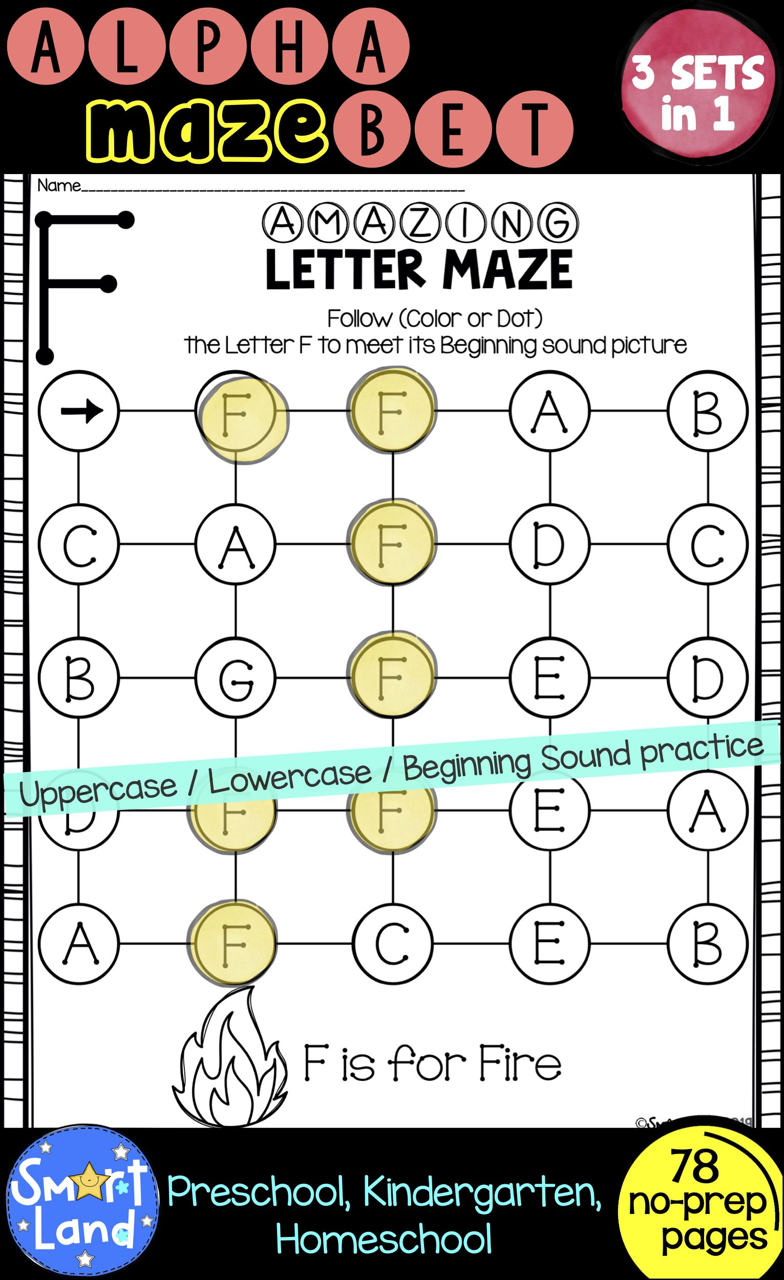 Alphabet Practice 3sets Of Letter Mazes