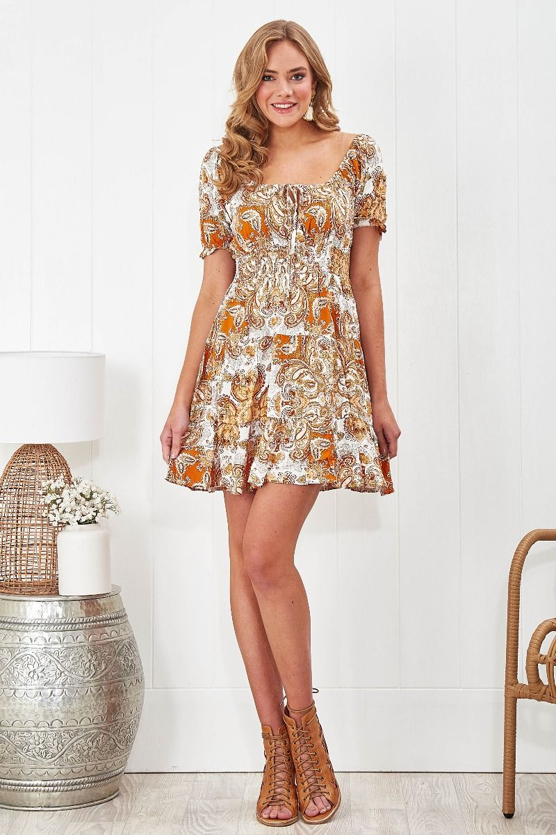 Alessana Dress in White with Mustard Paisley Print | Dresses