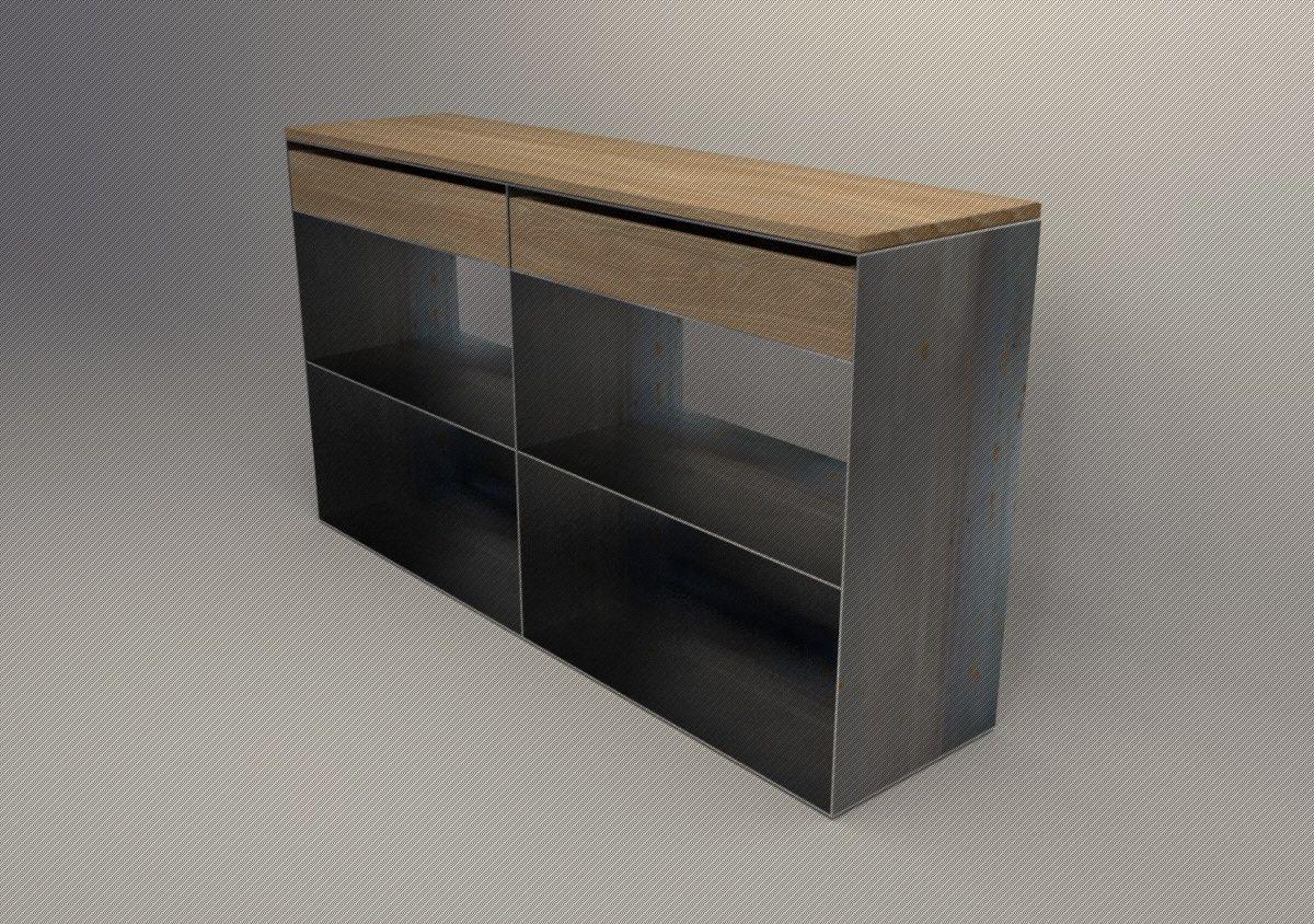 Metall Sideboard Aus Stahl In Rohstahloptik Und Holz Bastelarbeit