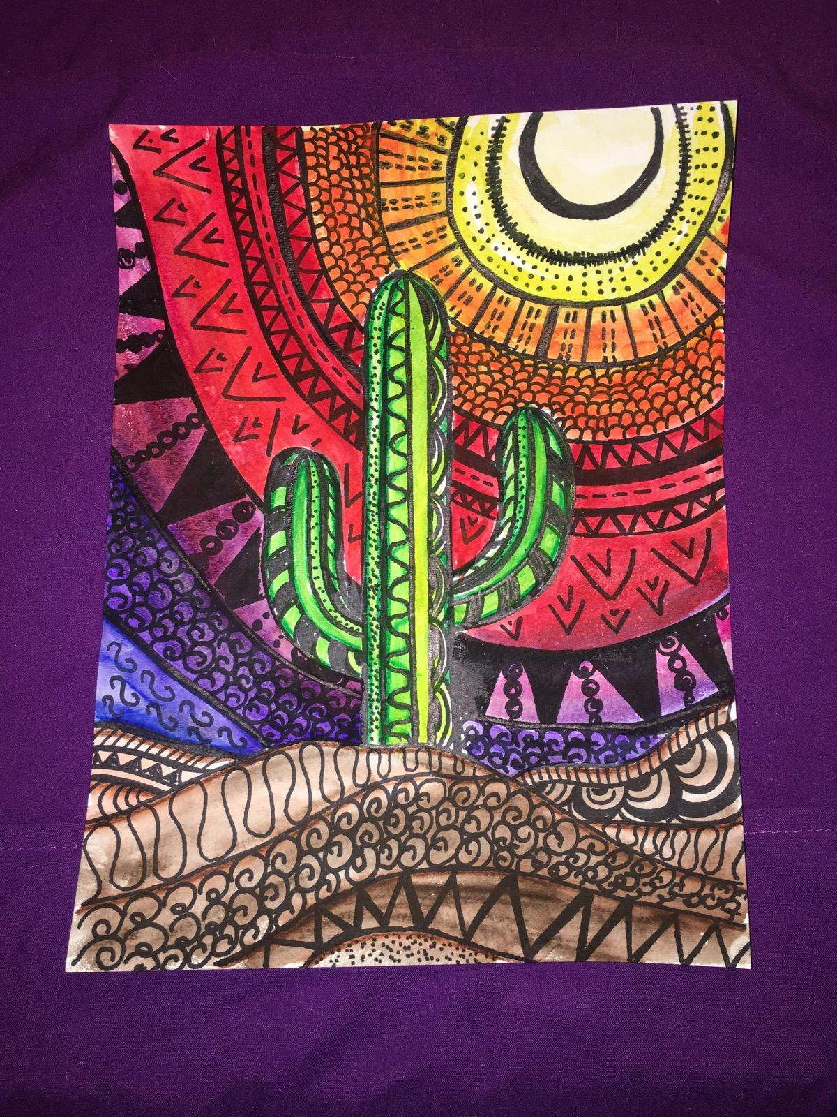 Mexican Folk Art Cactus Watercolor Painting I Created