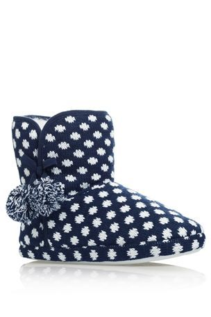 Fairisle Pattern And Spot Knit Booties | Slippers and socks ...