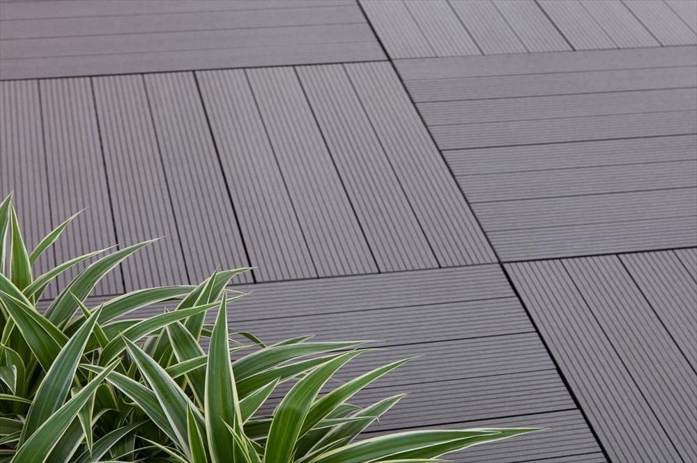 BuildDirect – Interlocking Deck Tiles - Basics +Plus – Gray - Outdoor View