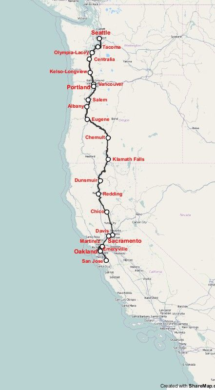 map of coast starlight amtrak passanger train running at us west coast from seattle to