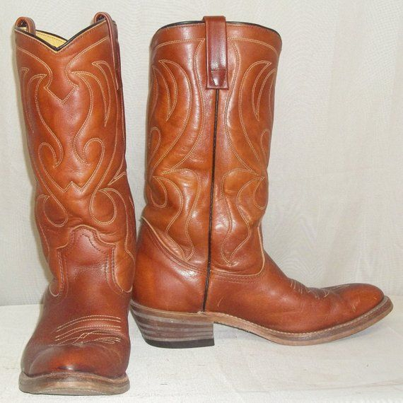62c76fc08ca Vintage Brown Leather Mason Cowboy Boots Mens 7D Western Stacked ...