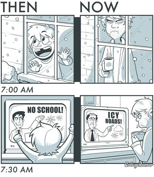 Snow Days Then And Now Snow Day Meme Funny Memes Snow Meme