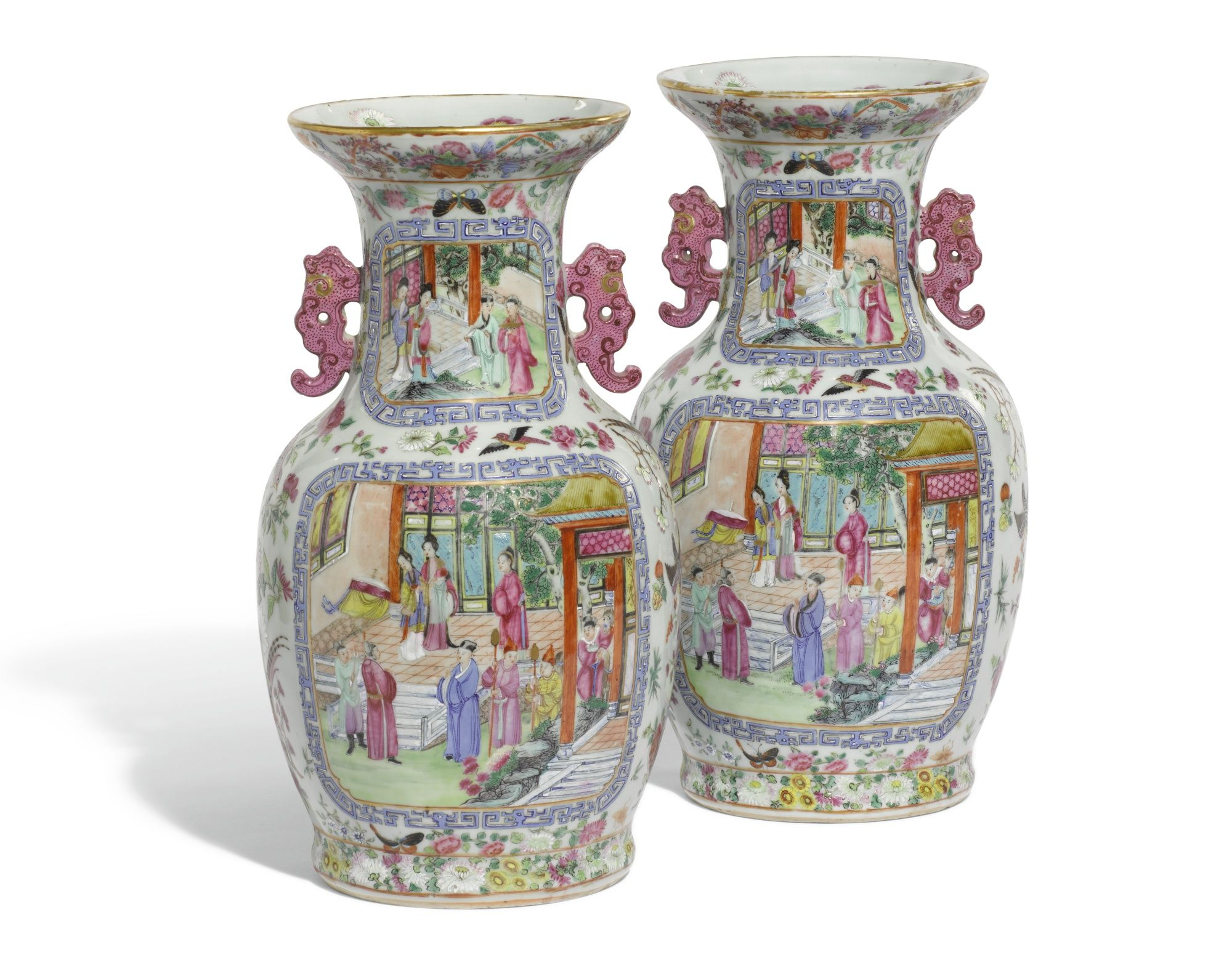 A pair of Chinese canton famille-rose baluster vases  Qing Dynasty, 19th century