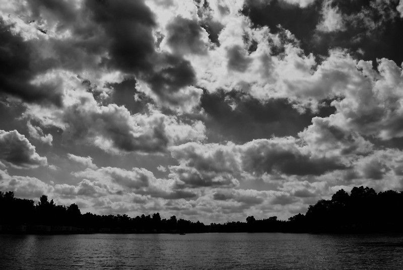 Clouds Roll Over in Black and White