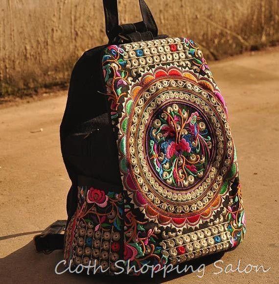 Hand-made Vintage Women Embroidery Canvas Backpack Travel Handbag Handicraft bag