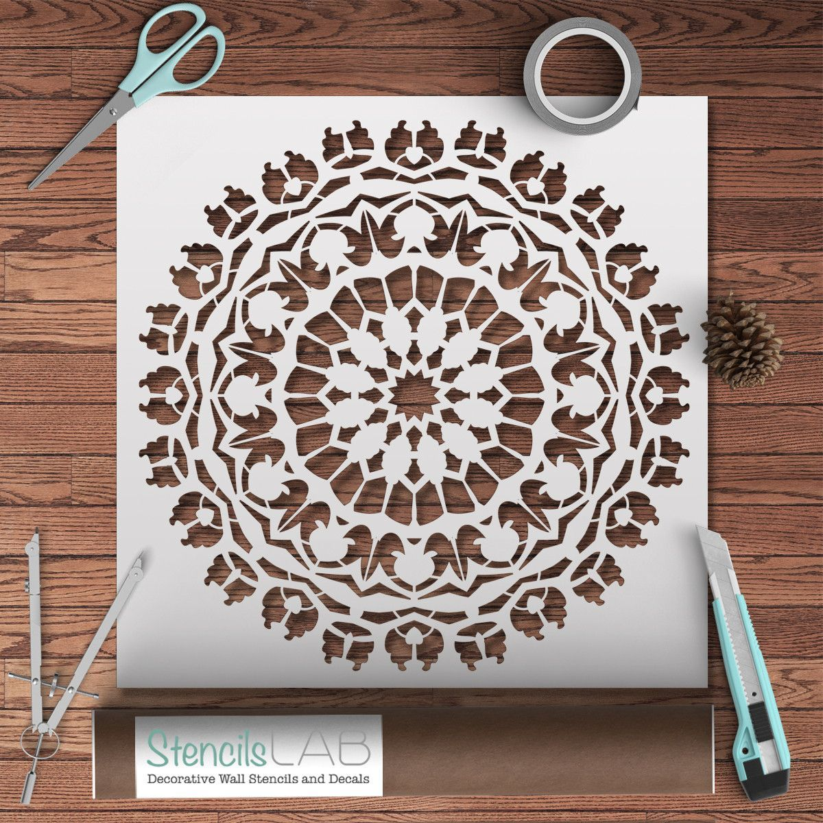 Mandala style stencil for decoration diy decor wall for Decor 6 template