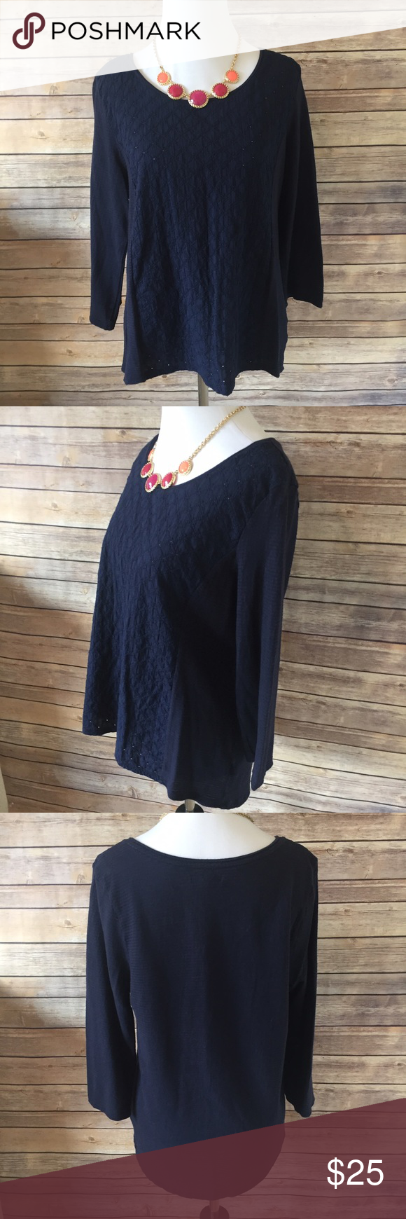 GAP Dark Blue Top Beautiful dark blue top from the Gap. Flower inspired facets on the front and a slightly ribbed fabric on the 3/4 length sleeves and back. Size large. 100% cotton. Great used condition. GAP Tops Tees - Long Sleeve