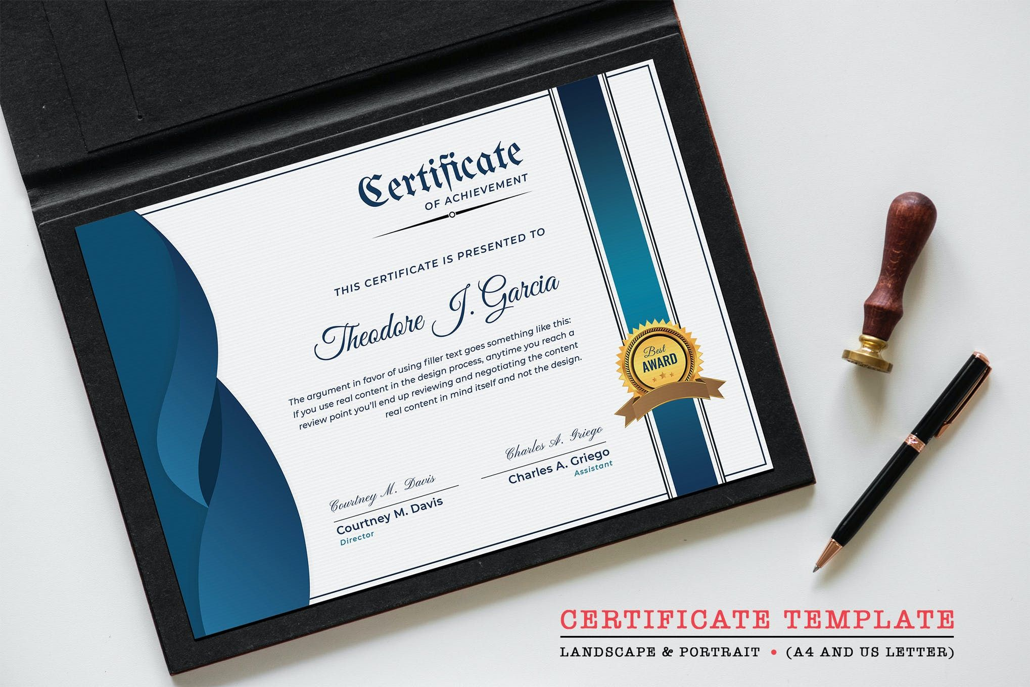 certificate portrait template landscape psd designtemplateplace templates