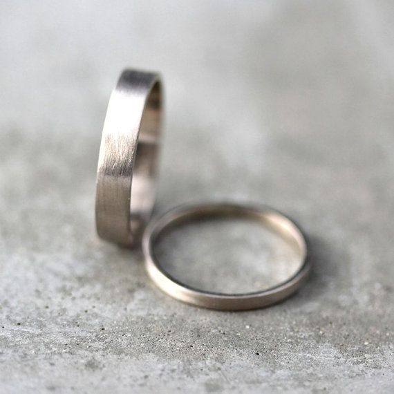 White Gold Wedding Ring Set His And Hers 4mm And 2mm Brushed Flat