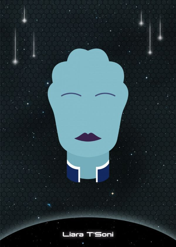 "Mass Effect Minimalist Character Faces Liara T'Soni #Displate artwork by artist ""Raymond Diaz"". Part… 