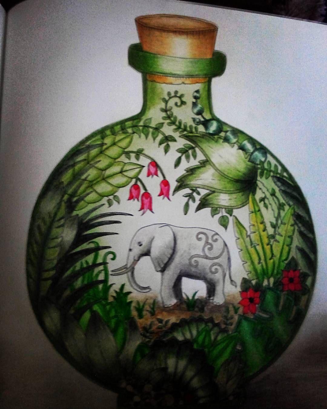 Magical Jungle Elephant Bottle Johanna Basford Coloring Book Coloring Books Jungle Coloring Pages