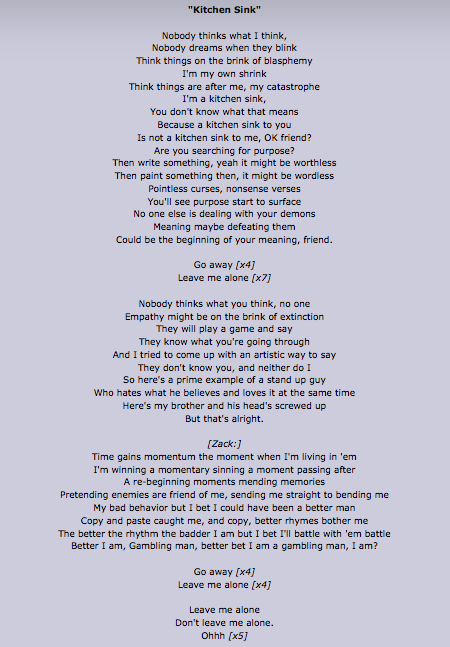 Kitchen sink lyrics. I love these lyrics | Twenty One ...