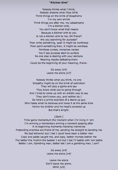 Kitchen Sink Lyrics I Love These Lyrics Twenty One Pilots
