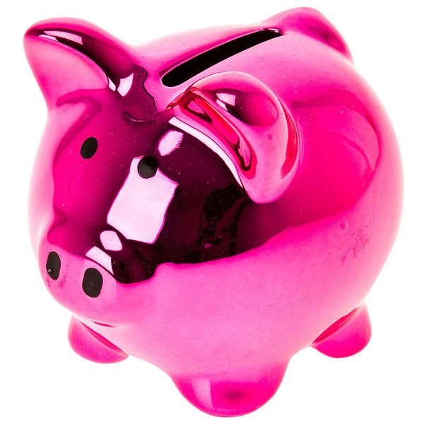 Mini pig moneybank pink ($11) ❤ liked on Polyvore featuring home, home decor, small item storage, ceramic bank, ceramic coin banks, pig coin bank, pig piggy bank and pink piggy bank