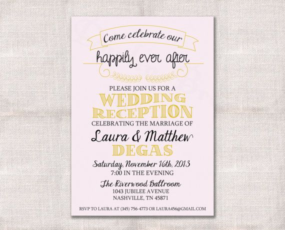 wedding reception celebration after party invitation custom printable - Post Wedding Reception Invitation Wording